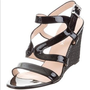 💯 AQUATALIA  Patent Leather Wedge Sandals - EUC